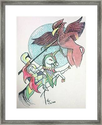 Lancelot And Griffin  Framed Print by Loretta Nash