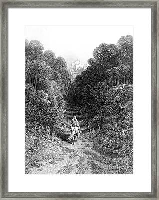 Lancelot Approaches The Castle At Astolat Framed Print by Gustave Dore