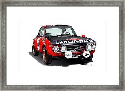 Lancia Fulvia Hf Illustration Framed Print by Alain Jamar