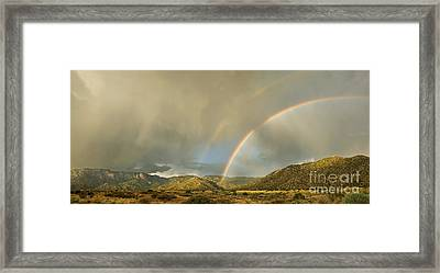 Land Of Enchantment - Rainbow Over Sandia Mountains Framed Print by Matt Tilghman
