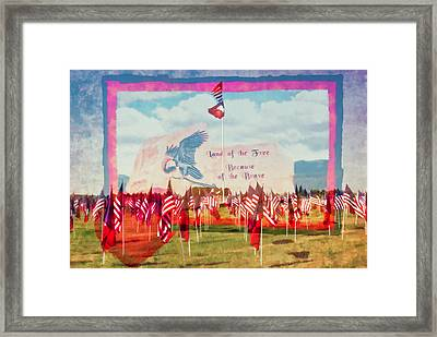 Land Of The Free Because Of The Brave Framed Print