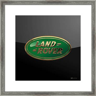 Land Rover - 3d Badge On Black Framed Print
