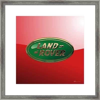 Land Rover - 3d Badge On Red Framed Print by Serge Averbukh
