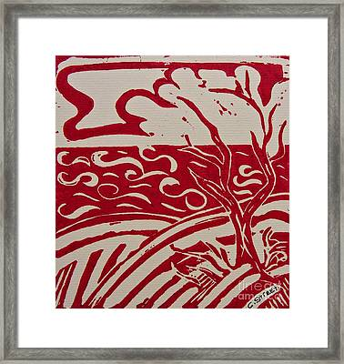 Abstract Seascape In Red  Framed Print