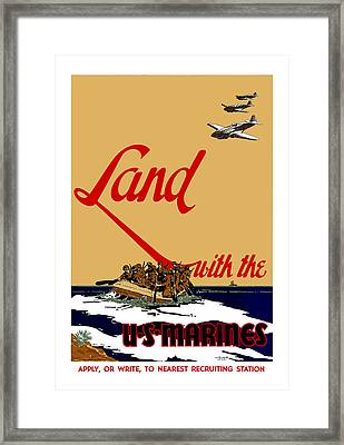 Land With The Us Marines Framed Print by War Is Hell Store