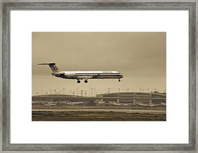 Landing At Dfw Airport Framed Print
