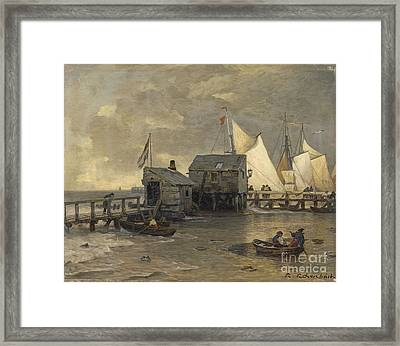 Landing Stage With Sailing Ships Framed Print by MotionAge Designs