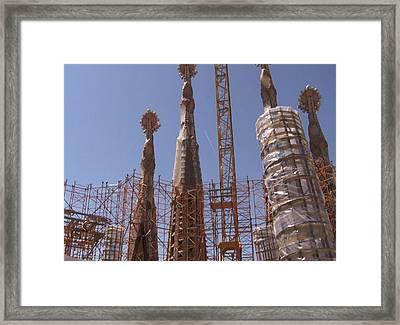 Landmark Photography Of Sagrada Temple Barcelona  Under Construction Since 1886 Artwork By Navinjosh Framed Print