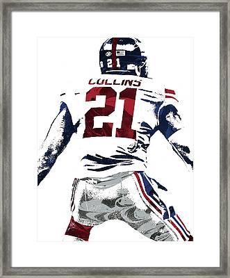Landon Collins New York Giants Pixel Art 1 Framed Print by Joe Hamilton
