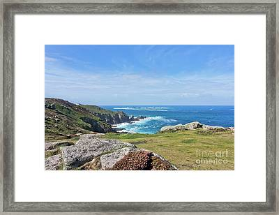 Land's End And Longships Lighthouse Cornwall Framed Print by Terri Waters