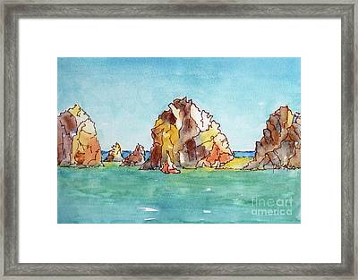 Framed Print featuring the painting Lands End Cabo San Lucas Mexico by Pat Katz