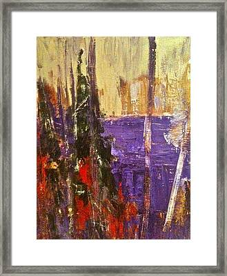 Landscape Abstract In Purple Framed Print by Mary-Lynn Bastian