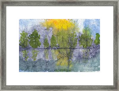 Landscape Reflection Abstraction On Masa Paper Framed Print