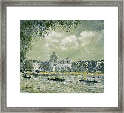 Landscape Along The Seine With The Institut De France And The Pont Des Arts Framed Print