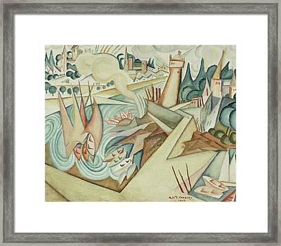Landscape Framed Print by Amadeu de Souza-Cardoso