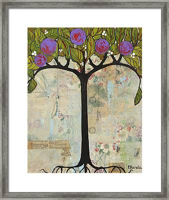 Landscape Art Tree Painting Past Visions Framed Print by Blenda Studio