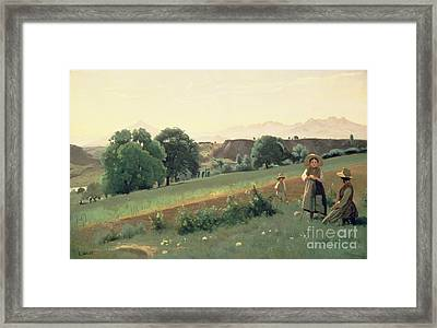 Landscape At Mornex Framed Print by Jean Baptiste Corot
