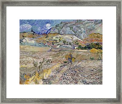Landscape At Saint-remy Framed Print by Vincent Van Gogh