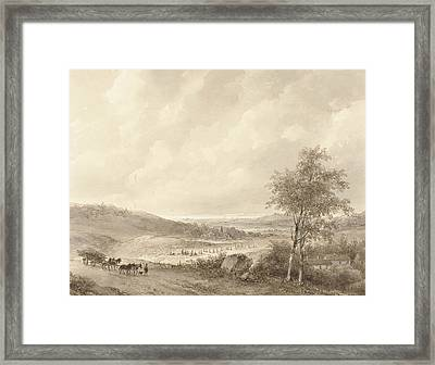 Landscape Between Calais And Boulogne Framed Print by Andreas Schelfhout
