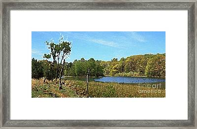Landscape, Countryside In The Netherlands, Lakes, Meadows, Trees Framed Print