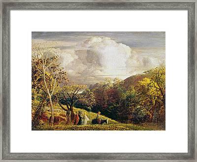 Landscape Figures And Cattle Framed Print by Samuel Palmer