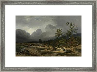 Landscape In An Approaching Storm Framed Print by Willem Roelofs