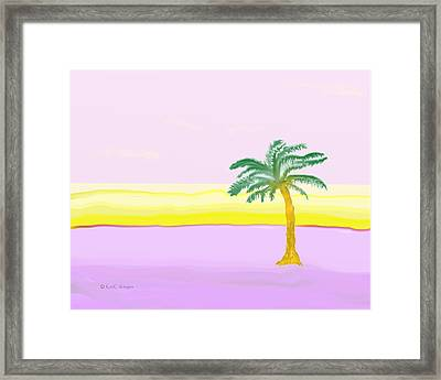 Landscape In Pink And Yellow Framed Print