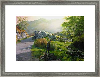 Framed Print featuring the painting Landscape In Wales by Harry Robertson