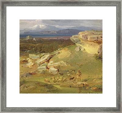 Landscape Near Corinth Framed Print by Carl Rottmann
