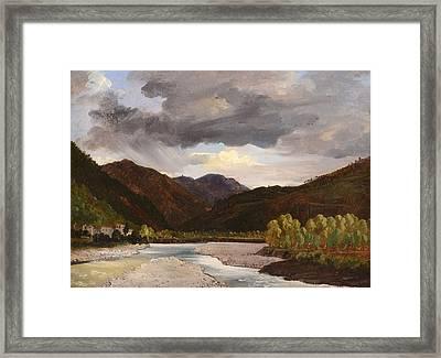 Landscape Near Lucca Framed Print by Jules Coignet