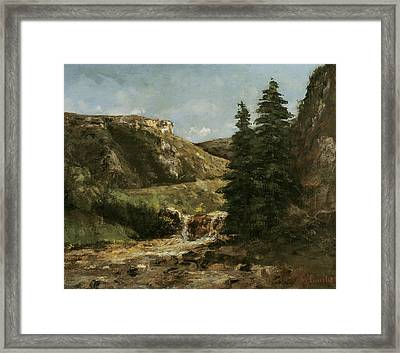 Landscape Near Ornans Framed Print by Gustave Courbet