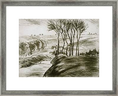 Landscape Near Osny  Framed Print by Camille Pissarro