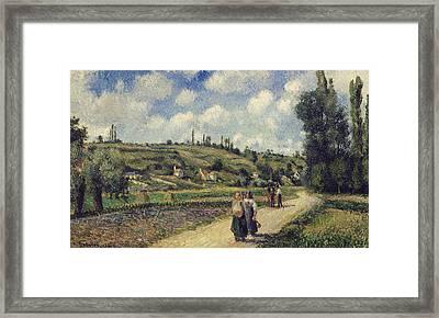 Landscape Near Pontoise Framed Print by Camille Pissarro