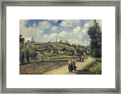 Landscape Near Pontoise The Auvers Road Framed Print by Camille Pissarro