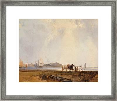 Landscape Near Quilleboeuf, France Framed Print by Richard Parkes Bonington