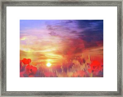 Framed Print featuring the digital art Landscape Of Dreaming Poppies by Valerie Anne Kelly