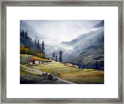 Landscape Of Himalayan Mountain Framed Print by Samiran Sarkar