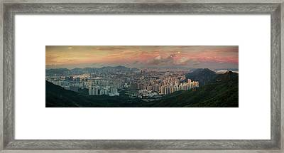 Landscape Of Hong Kong And Kowloon In Sunrise Morning With Mist  Framed Print by Anek Suwannaphoom