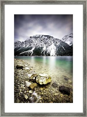 Landscape Of Plansee Lake And Alps Mountains During Winter, Snowy View, Tyrol, Austria. Framed Print
