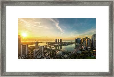 Landscape Of Singapore City In Morning Light Sunrise Framed Print