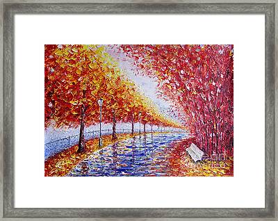 Landscape Painting Gold Alley Framed Print by Valery Rybakow