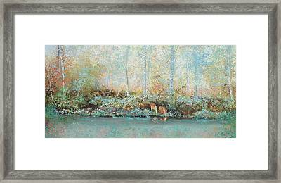 Landscape Painting - Looking For Tadpoles Framed Print by Jan Matson