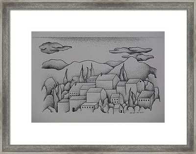 Landscape The Town II  2009 Framed Print by S A C H A -  Circulism Technique