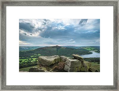 Landscape View From Bamford Edge In Peak District Towards Ladybo Framed Print by Matthew Gibson