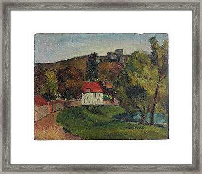 Landscape Village Beneath The Ruins Framed Print