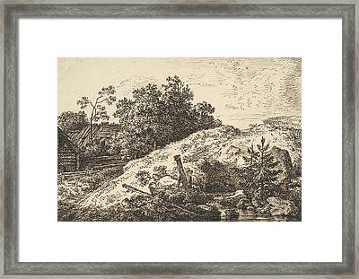 Landscape With A Brook And Farm Buildings Framed Print