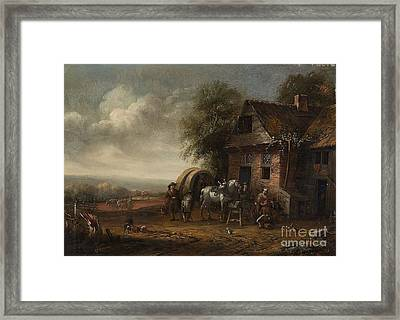 Landscape With A Farmhouse And Resting Travellers Framed Print