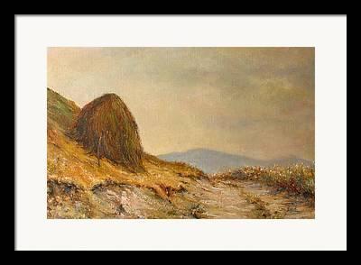 Landscape With A Haystack Framed Prints