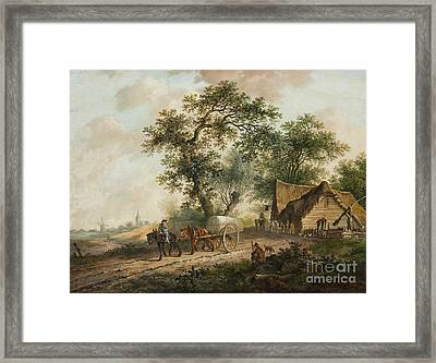 Landscape With A Horse And Cart Framed Print by MotionAge Designs