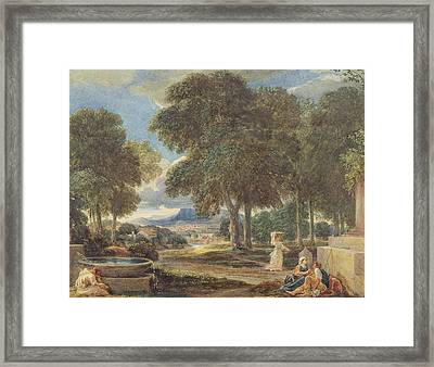 Landscape With A Man Washing His Feet At A Fountain Framed Print by David Cox